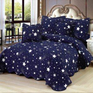 Set cuvertura de pat matlasata + 4 Fete de perna, 100% Bumbac, 5 Piese, stelute, Albastru, K5P7010