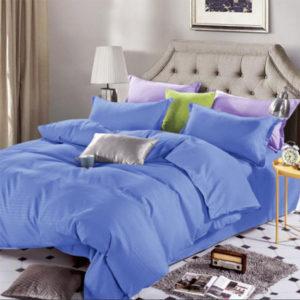 Lenjerie de pat, Bumbac Damasc, 4 Piese, Pat 2 Persoane, Blue, DM103