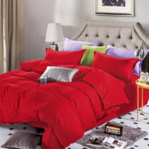 Lenjerie de pat, Bumbac Damasc, 4 Piese, Pat 2 Persoane, Rosu, DM110