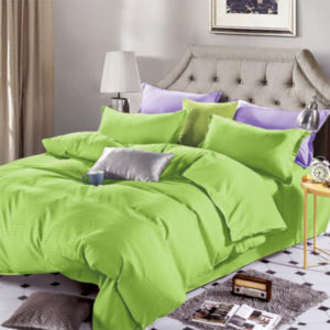 Lenjerie de pat, Bumbac Damasc, 4 Piese, Pat 2 Persoane, Lime, DM112