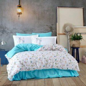 Lenjerie de pat dublu, Bumbac Poplin, Hobby Home, Stil Floral, Alb/Turcoaz, H1015