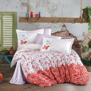 Lenjerie de pat dublu, Bumbac Poplin, Hobby Home, Stil Floral, Rosu/Alb, H1027