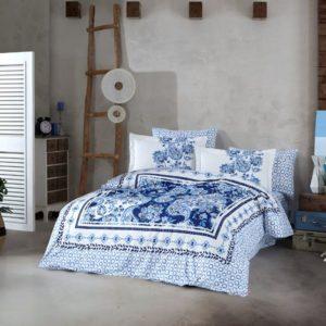 Lenjerie de pat dublu, Bumbac Poplin, Hobby Home, Tema Moderna, Alb/Albastru, H1034