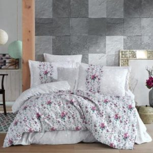 Lenjerie de pat dublu, Bumbac Poplin, Hobby Home, Stil Floral, Gri, H1038