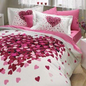 Lenjerie de pat dublu, Bumbac Poplin Premium, Hobby Home, Inimi, Alb/Roz, H1041