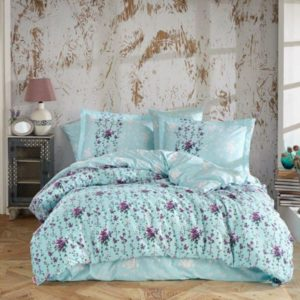 Lenjerie de pat dublu, Bumbac Poplin, Hobby Home, Stil Floral, Blue, H1044