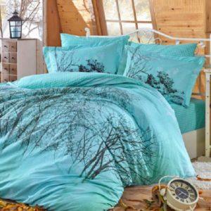 Lenjerie de pat dublu, Bumbac Poplin, Hobby Home, Tema Moderna, Blue, H1048