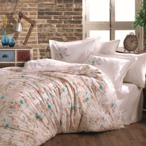 Lenjerie de pat dublu, Bumbac Poplin, Hobby Home, Stil Floral, Bej/Blue, H1050