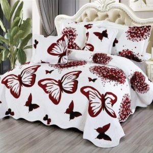Set cuvertura de pat matlasata + 4 Fete de perna, 100% Bumbac, 5 Piese, Alb/Bordo, Fluturi, K5P7009