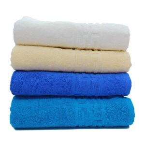 Set 4 Prosoape Calitate Superioara, 100% Bumbac, Textura Densa, Alb/Crem/Albastru/Turcoaz, PIMB505
