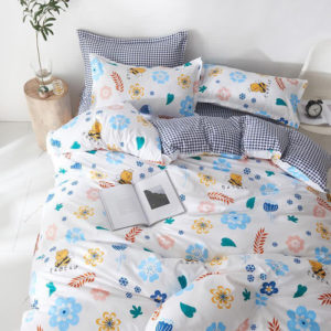 Lenjerie de pat 1 Persoana, Bumbac Satinat, 4 Piese, Floricele, Multicolor, PS7014