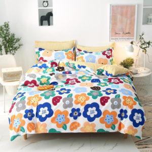 Lenjerie de pat 1 Persoana, Bumbac Satinat, 4 Piese, Floricele, Multicolor, PS709