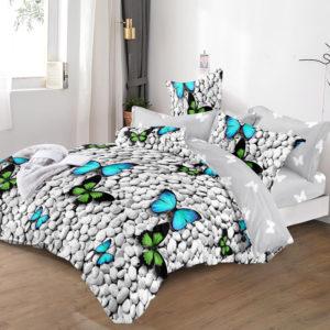 Lenjerie pat cu elastic, 2 Persoane/Pat dublu, Bumbac Finet 6 Piese, Fluturi, Verde/Gri/Albastru, PV2037