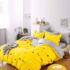 Lenjerie de pat, 1 Persoana, 4 Piese, Bumbac Finet Premium, Galben, Gene, JO5021