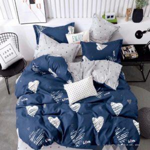Lenjerie de pat, 1 Persoana, 4 Piese, Bumbac Finet Premium, Inimi, Albastru, JO5025