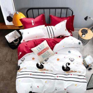 Lenjerie de pat, 1 Persoana, 4 Piese, Bumbac Finet Premium, lebede, Alb/Rosu, JO5026