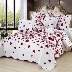 Set cuvertura de pat matlasata + 4 Fete de perna, 100% Bumbac, 5 Piese, Alb, Inimioare, K5P7011
