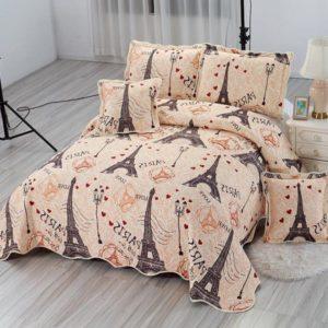 Set cuvertura de pat matlasata + 4 Fete de perna, 100% Bumbac, 5 Piese, Crem, Turnul Eiffel, K5P7022