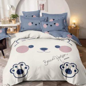 Lenjerie de pat pentru copii, Pat Dublu, 6 Piese, 100% Bumbac Finet Superior, Ursulet, Crem/Albastru, JOW11022P
