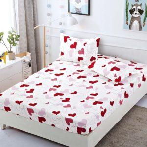 Husa pat dublu cu elastic, 2 fete de perna, Bumbac Finet, Alb/Rosu, Inimioare, JOH1