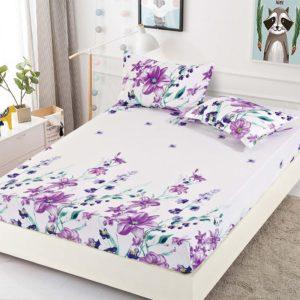 Husa pat dublu cu elastic, 2 fete de perna, Bumbac Finet, Alb/Mov, Stil Floral, JO4010