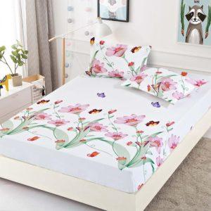 Husa pat dublu cu elastic, 2 fete de perna, Bumbac Finet, Alb, Stil Floral, JOH16