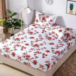 Husa pat dublu cu elastic, 2 fete de perna, Bumbac Finet, Alb/Rosu, Stil Floral, JOH17