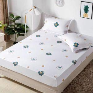 Husa pat dublu cu elastic, 2 fete de perna, Bumbac Finet, Alb, Trifoi, JOH18