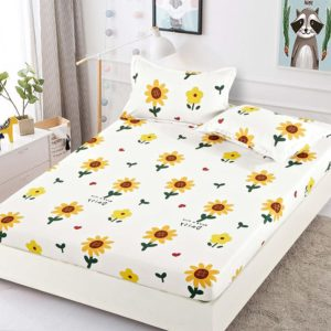 Husa pat dublu cu elastic, 2 fete de perna, Bumbac Finet, Alb/Galben, Stil Floral, JOH2