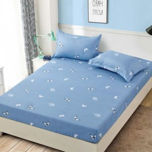 Husa pat dublu cu elastic, 2 fete de perna, Bumbac Finet, Blue, Fluturi, JOH22