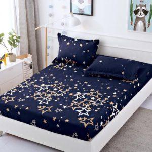 Husa pat dublu cu elastic, 2 fete de perna, Bumbac Finet, Bleumarin, Stelute, JO4016