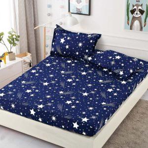 Husa pat dublu cu elastic, 2 fete de perna, Bumbac Finet, Albastru/Alb, Stelute, JOH25