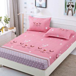 Husa pat dublu cu elastic, 2 fete de perna, Bumbac Finet, Roz, Nasuc Pisicuta, JO4018