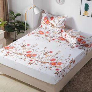 Husa pat dublu cu elastic, 2 fete de perna, Bumbac Finet, Alb/Roz, Stil Floral, JO4024