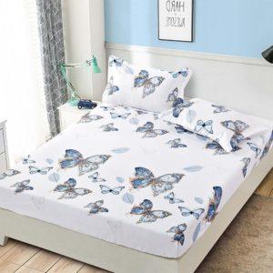 Husa pat dublu cu elastic, 2 fete de perna, Bumbac Finet, Alb/Albastru, Fluturi, JOH36