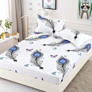 Husa pat dublu cu elastic, 2 fete de perna, Bumbac Finet, Alb/Mov, Fluturi, JO4027