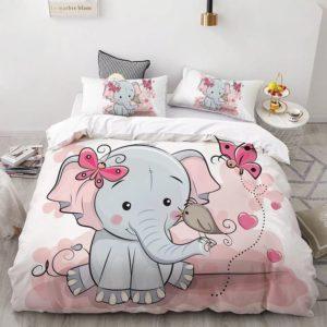 Lenjerie de pat pentru copii, Pat Dublu, 6 Piese, 100% Bumbac Finet, Elefantica Bucuroasa, Alb/Roz, NOW11003