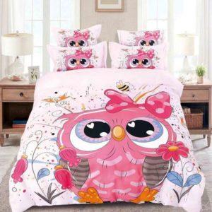 Lenjerie de pat pentru copii, Pat Dublu, 6 Piese, 100% Bumbac Finet, Bufnita Fericita, Roz, NOW11005