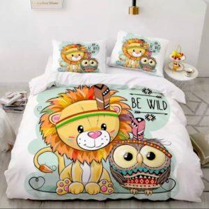 Lenjerie de pat pentru copii, Pat Dublu, 6 Piese, 100% Bumbac Finet, Leul si Bufnita, NOW11006