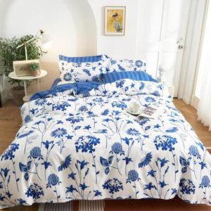 Lenjerie pat din Bumbac Satinat, 2 Persoane/Pat dublu, 4 Piese, Stil Floral, Alb/Albastru, PS30131