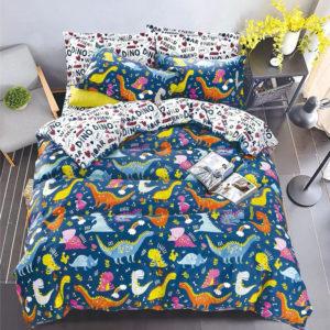 Lenjerie pentru copii, Pat Dublu, 4 Piese, Bumbac Satinat, Dinozauri, Multicolor, POW11017ST