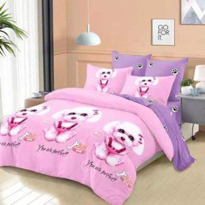 Lenjerie de pat pentru copii, Pat Dublu, 6 Piese, 100% Bumbac Finet, Catelusi, Roz, VOW11001