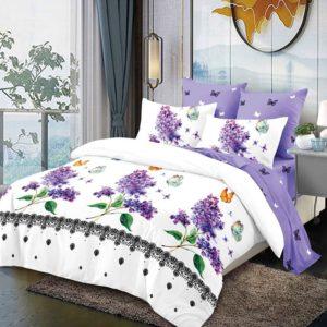 Lenjerie pentru pat dublu, 6 Piese, Bumbac Finet, Flori de Liliac, Alb/Lila, PV10151