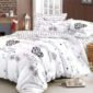 Lenjerie pentru pat dublu, 6 Piese, 100% Bumbac Finet, Inimioare, Alb/Negru, PV10176