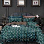 Lenjerie pentru pat dublu, 6 Piese, Bumbac Finet, Imprimeu Elegant, Verde/Maro, PS1137