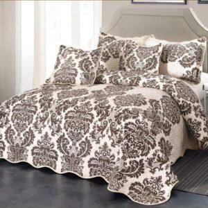 Set cuvertura de pat matlasata + 4 Fete de perna, 100% Bumbac, 5 Piese, Crem/Maro, K5P7005