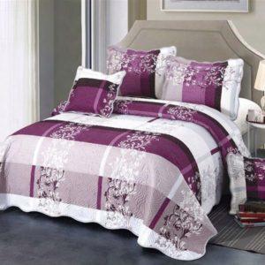 Set cuvertura de pat matlasata + 4 Fete de perna, 100% Bumbac, 5 Piese, Alb/Mov, K5P7006