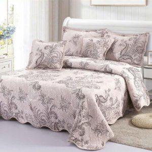 Set cuvertura de pat matlasata + 4 Fete de perna, 100% Bumbac, 5 Piese, Imprimeu Elegant, K5P7013