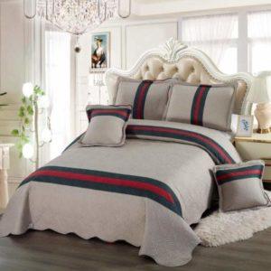 Set cuvertura de pat matlasata + 4 Fete de perna, 100% Bumbac, 5 Piese, Imprimeu Modern, Gri/Rosu/Verde, K5P7020