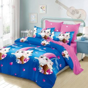 Lenjerie pat pentru copii, King Size, 6 Piese, 100% Bumbac, Pisicute, Roz/Albastru, PV10183